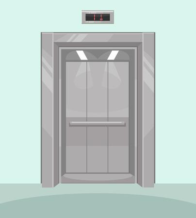 cerrar puerta: ascensor abierta. ascensor de hierro con las puertas abiertas. Vector ilustración de dibujos animados plana Vectores