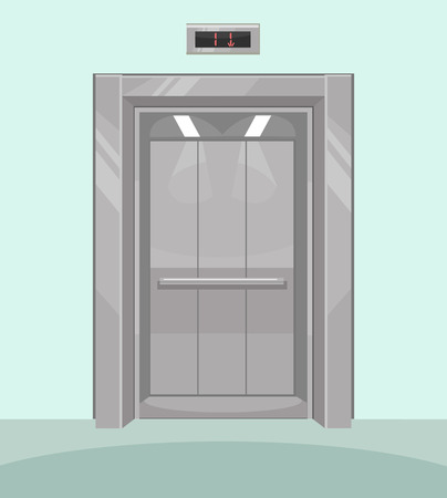 room door: Open elevator. Iron elevator with open doors. Vector flat cartoon illustration Illustration