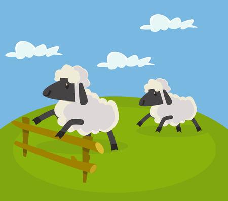 salto de valla: ovejas que saltan sobre la cerca. Vector ilustración de dibujos animados plana