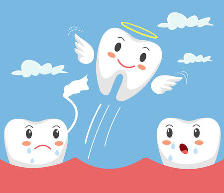Removal of tooth. Teeth character. Vector flat cartoon illustration