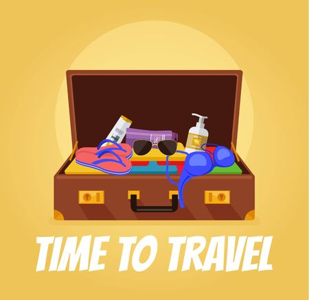 Time to travel banner. Open suitcase with tourist stuff. Vector flat cartoon illustration