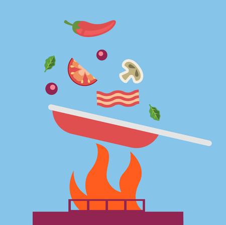 throw up: Pan with falling food. Vector flat cartoon illustration