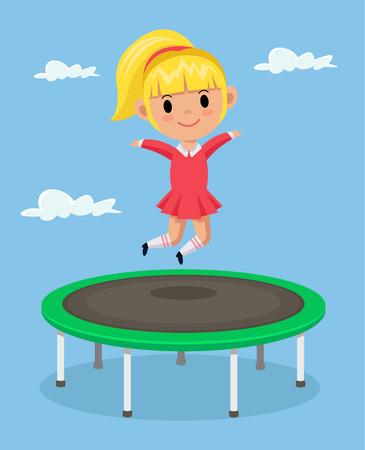 action girl: Little girl jumping on trampoline. Vector flat cartoon illustration