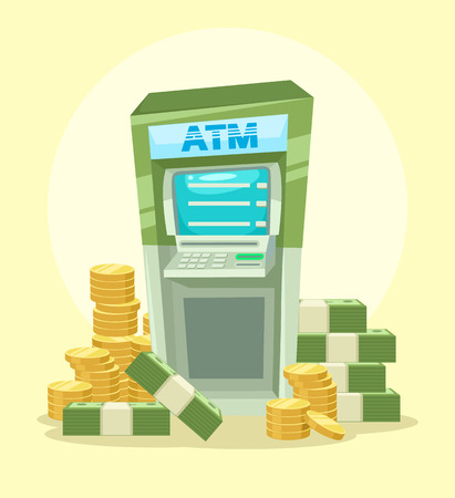 touch: Cartoon ATM machine with money. Vector flat illustration icon Illustration