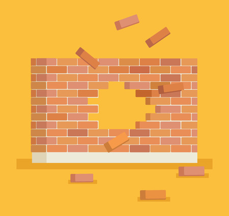 Breaking brick wall with hole. Vector flat cartoon illustration