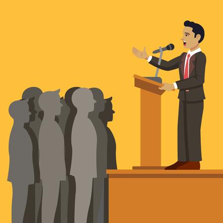 public speaker: Public speaker. Vector flat cartoon illustration Illustration