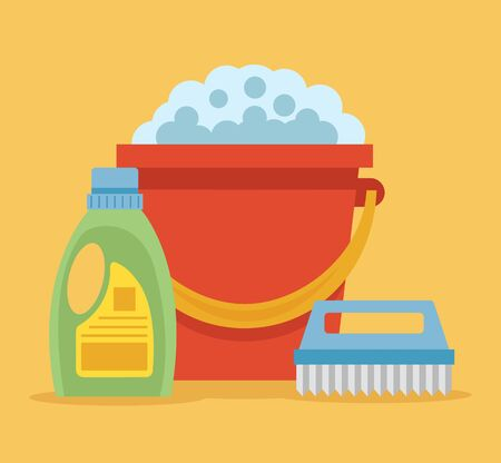 Cleaning flat cartoon icon illustration