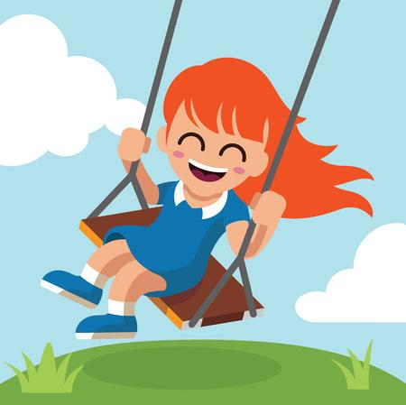 kid illustration: Happy little girl on swing. Vector flat cartoon illustration