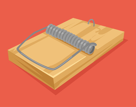 pest control equipment: Empty mousetrap vector flat cartoon icon illustration