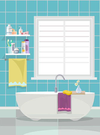 toiletries: Bathroom. Vector flat cartoon illustration