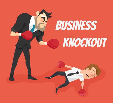 knockout: Business knockout. Vector flat cartoon illustration