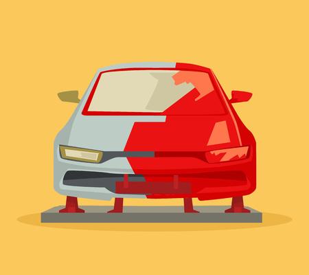 car body: Car painting. Vector flat cartoon illustration Illustration