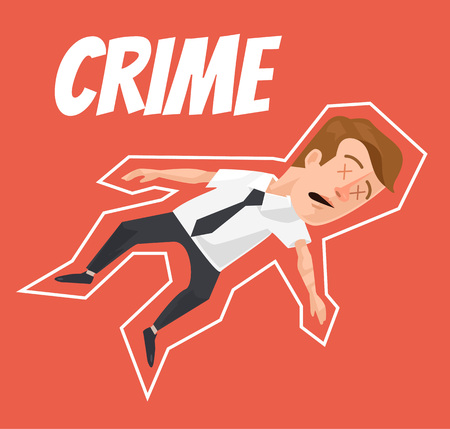 fatality: Dead businessman painted on ground. Vector flat cartoon illustration