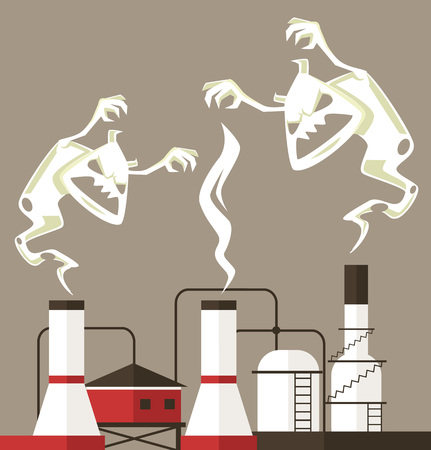 haze: Air pollution. Smoke monster. Vector flat cartoon illustration