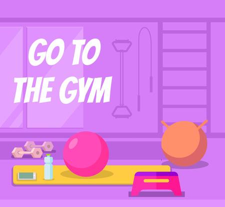 gymnastic: Go to the gym. Vector flat cartoon banner illustration Illustration