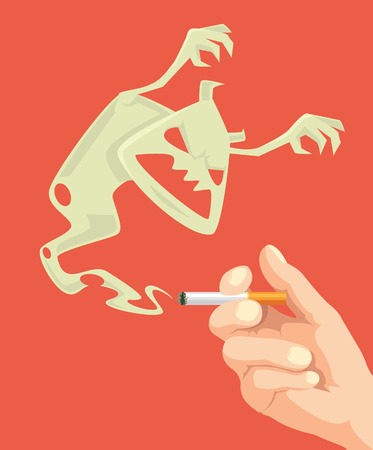 nicotine: Stop smoking. Nicotine monster. Vector flat cartoon illustration