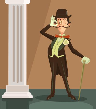englishman: Victorian gentleman. Vector flat cartoon character illustration