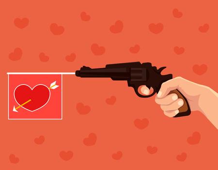 love target: Hand hold revolver shoots heart love flag. Vector flat cartoon illustration