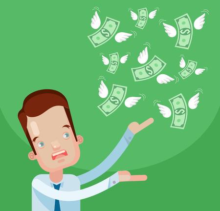 moneyless: Businessman loss money. Vector flat cartoon illustration