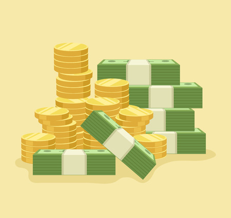 saving bank: Lot of money. Vector flat cartoon icon illustration