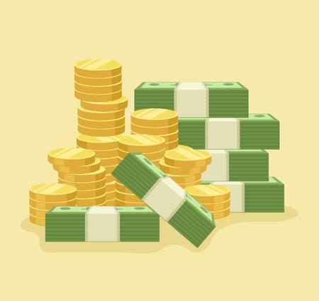 banco dinero: Mucho dinero. Icono del vector de dibujos animados plana