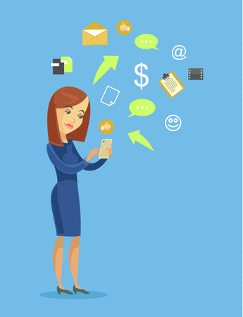 business phone: Business woman with smart phone. Vector flat cartoon illustration