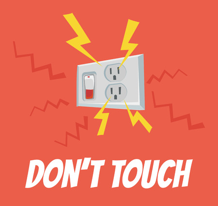electrocution: Do not touch the socket. High voltage. Vector flat cartoon banner illustration