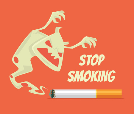 killing cancer: Stop smoking. Nicotine monster. Vector flat cartoon illustration