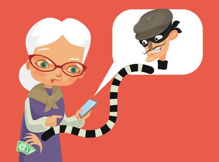 Telephone fraud. Vector flat cartoon illustration