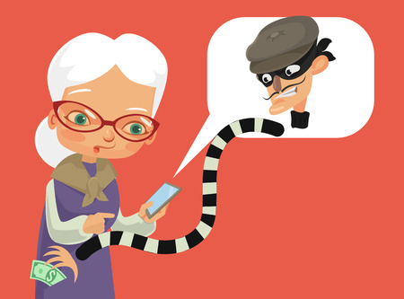 Telephone fraud. Vector flat cartoon illustration