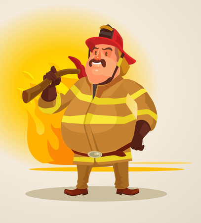 Firefighter with axe stands on fire background. Vector flat cartoon illustration
