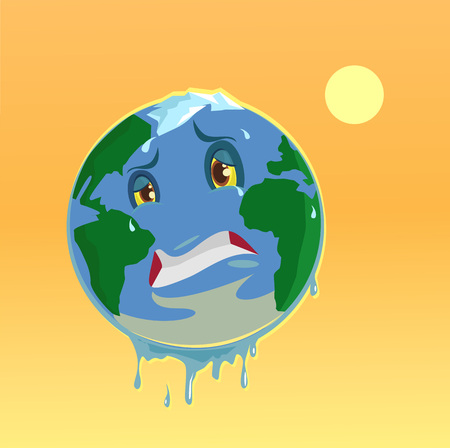Stop global warming. Planet character. Vector flat illustration