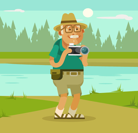 ling: Grandfather tourist with camera on nature backround. Vector flat cartoon illustration
