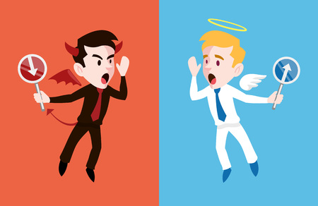 Angel and devil. Vector flat cartoon illustration