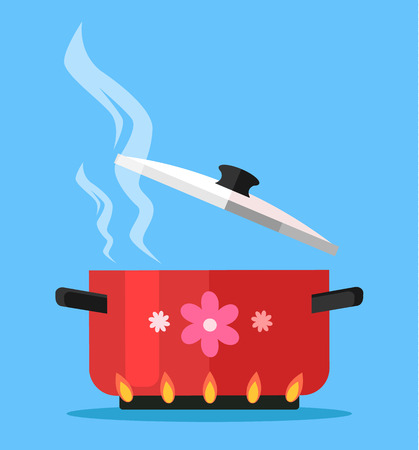 preparing food: Boiling water in pan. Vector flat cartoon illustration