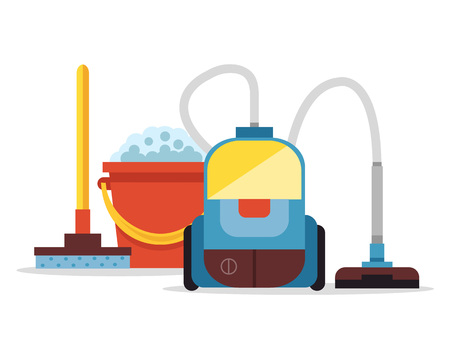 dry cleaner: Cleaning supplies and vacuum cleaner. Vector flat cartoon illustration