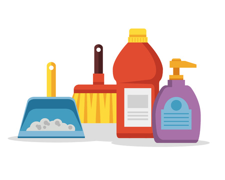 Cleaning supplies. Vector flat cartoon illustration Illustration
