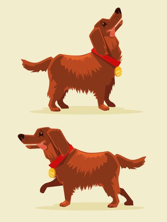 obedient: Happy champion dog with medal. Vector flat cartoon character illustration