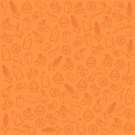 Seamless food pattern. Vector flat cartoon illustration Illustration