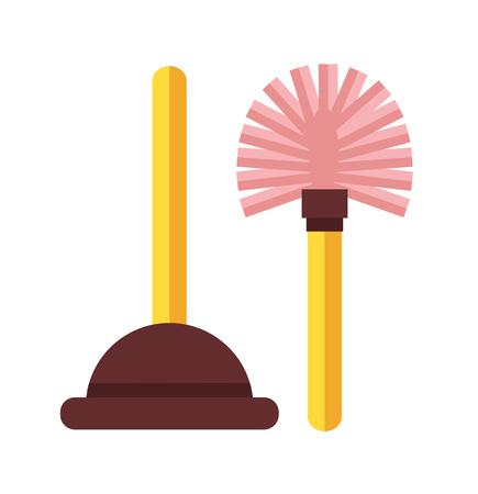 toilet brush: Toilet icon. Vector flat cartoon illustration