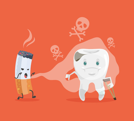 Tooth and cigarette characters. Vector flat cartoon illustration