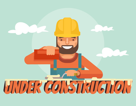 temporarily: Under construction. Worker character. Vector flat cartoon illustration Illustration