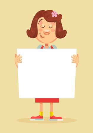post teen: Woman character hold paper banner. Vector flat cartoon illustration