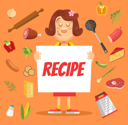 hold: Woman cooker character hold recipe paper. Vector flat cartoon illustration Illustration