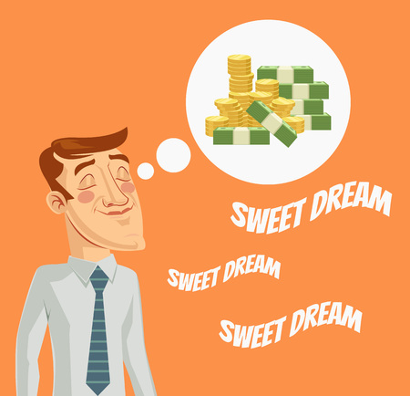 Man character dreaming about money. Vector flat cartoon illustration Illustration