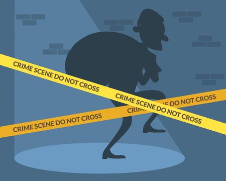 crime scene: Thief character with bag of money. Crime scene. Vector flat cartoon illustration Illustration