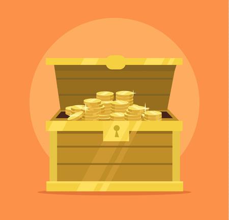 Treasure chest full of gold coins icon. Vector flat cartoon illustration