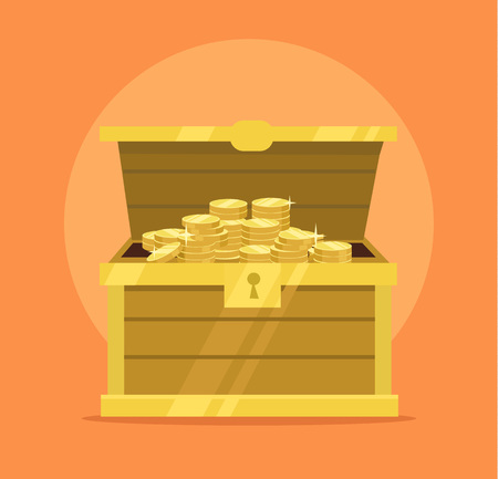 hoard: Treasure chest full of gold coins icon. Vector flat cartoon illustration