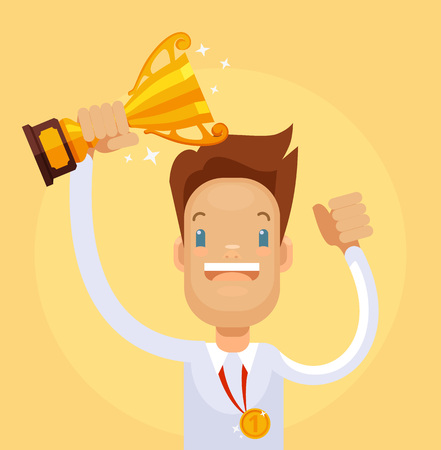 commendation: Businessman winner character hold gold cup. Vector flat cartoon illustration