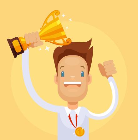 Businessman winner character hold gold cup. Vector flat cartoon illustration